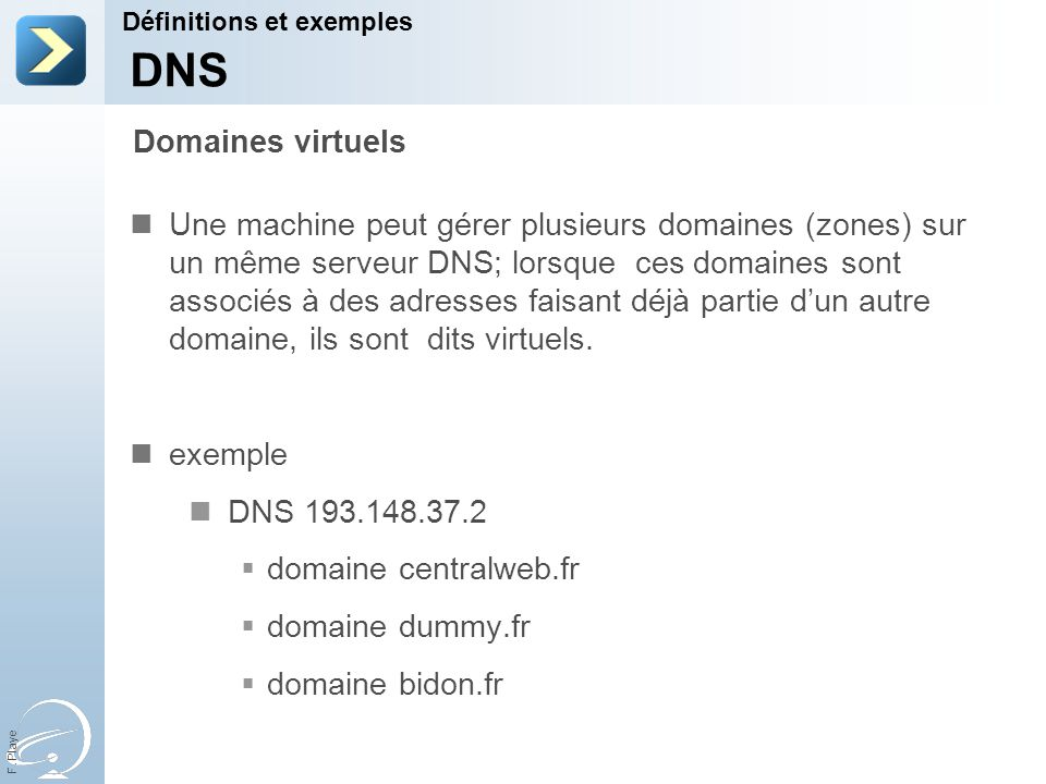 31-Mar-17 Définitions et exemples. [Title of the course] DNS. Domaines virtuels.